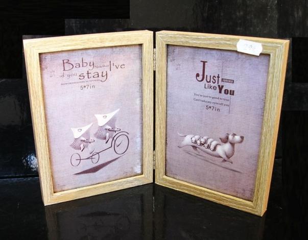 Dvoj fotorám pro 2x 13x18 cm dřevěný hnědá rámeček