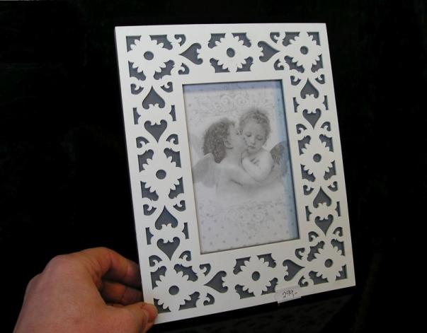 Fotorám dekorovaný bílý 10x15 cm