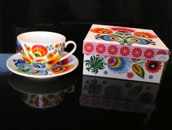 Šálek s podšálkem folklor dekorace, dárek žena