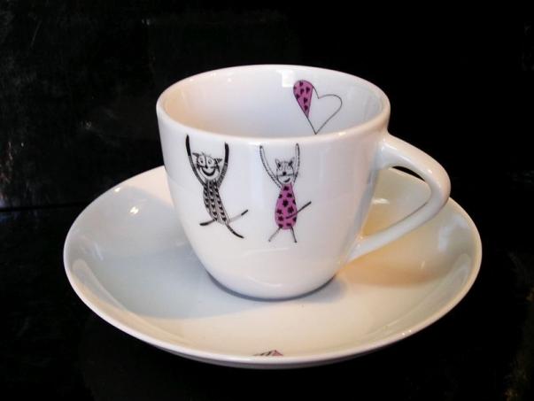 Kočky Mocca 0,13 l šálek a podšálek káva, kafé