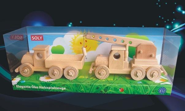 Dřevěné hračky, náklaďáček + autojeřáb) ze dřeva