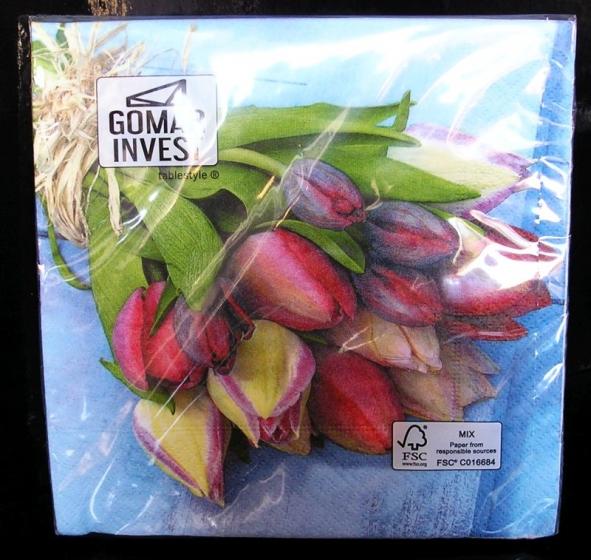Papírové ubrousky tulipány dekorační s potiskem, vzorem květin