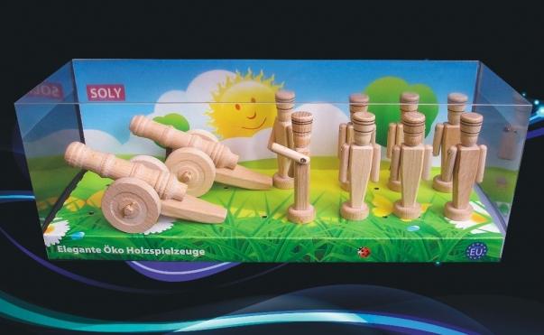Vojenské dřevěné hračky, 2x malé dělo + 8x vojáčci 90 mm