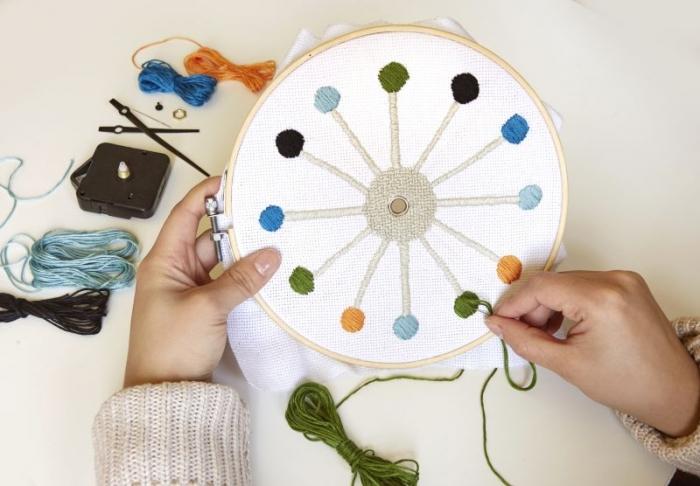DIY vyšívané nástěné funkční hodiny