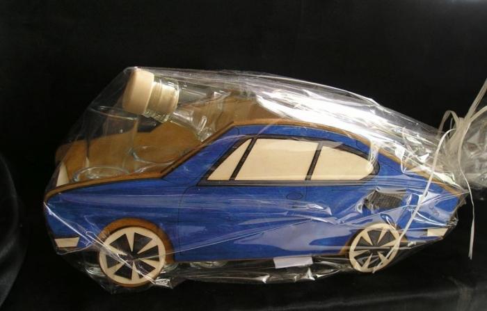 Dárková láhev modrá Škoda 110 R