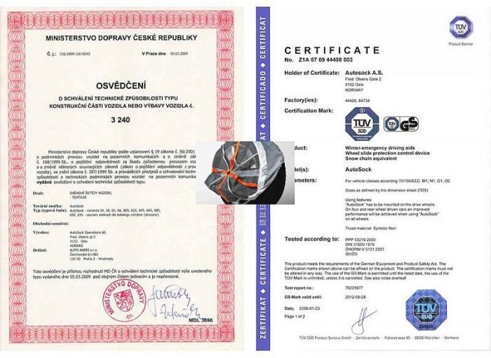 Certifikáty funkčnosti zimní sněhové řetězy