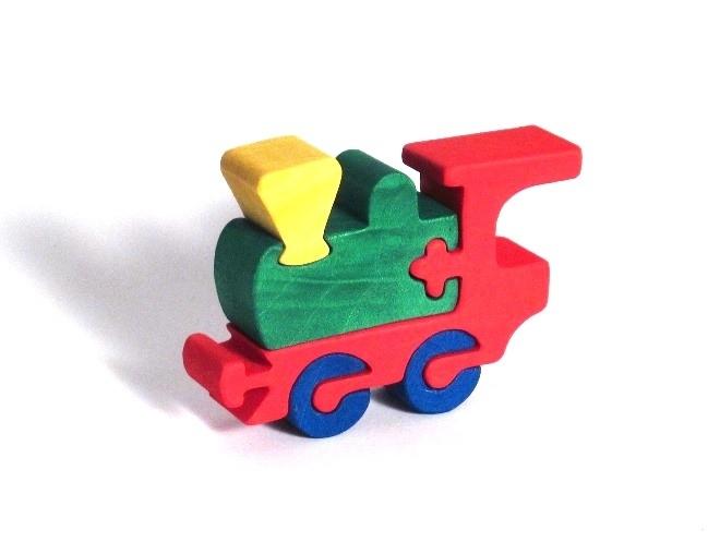 Stavebnice vlakové depo - pejsek puzzle ze dřeva