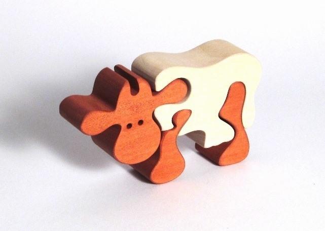 Dřevěné puzzle kravička