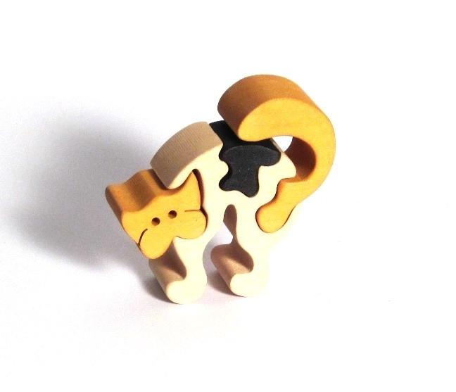 Dřevěné puzzle kočička