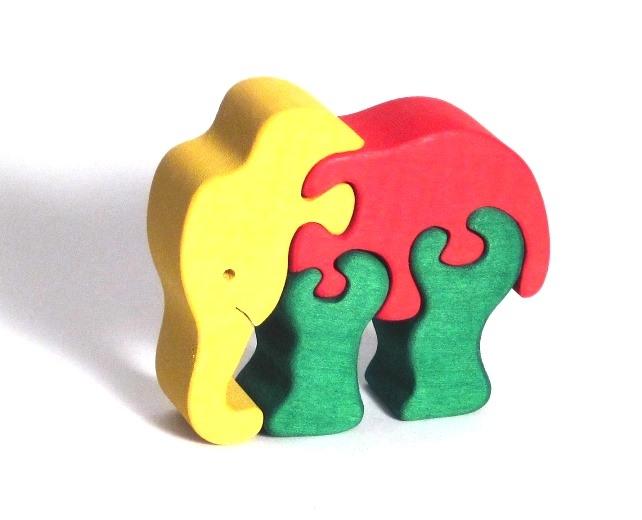 Dřevěné puzzle slon