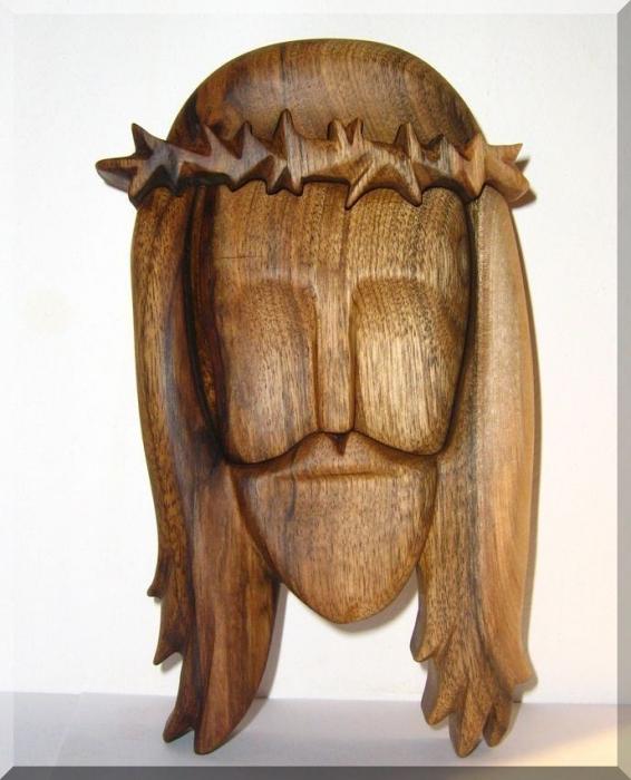 Ježíš Kristus soška ze dřeva - tvář