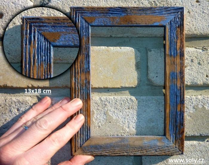 Modrý fotorámeček ze dřeva 13x18 cm