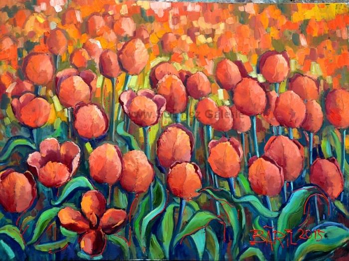 Originální obraz. Červený svět, olej na plátně, 75x100 cm, cena 18 500,-