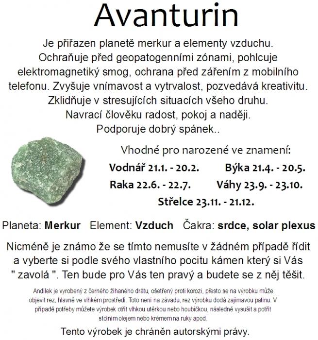 Dratěný anděl s minerálním kamenem Avanturin