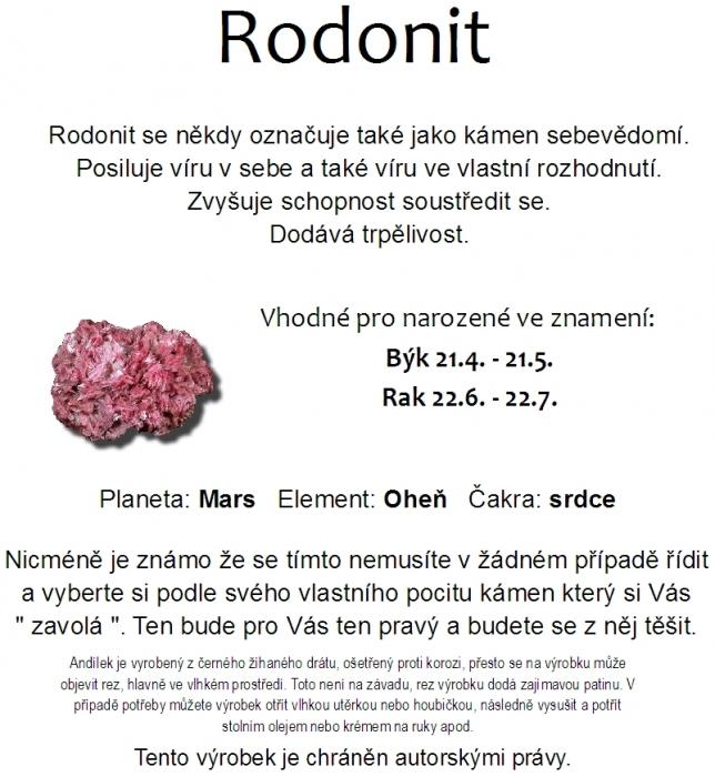 Anděl z drátu s kamenem Rodonit, minerál