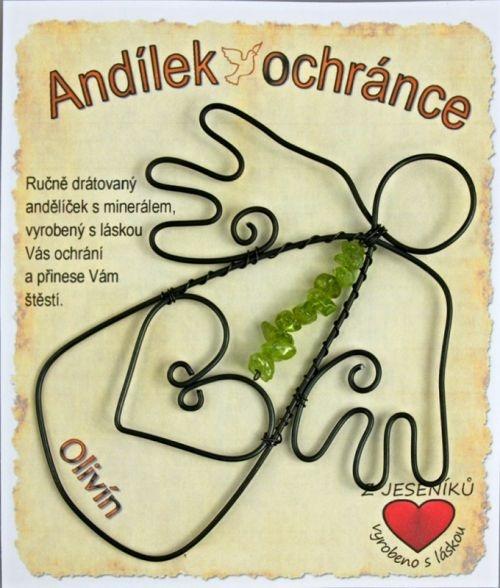 Drátovaný anděl s kamenem Olivín