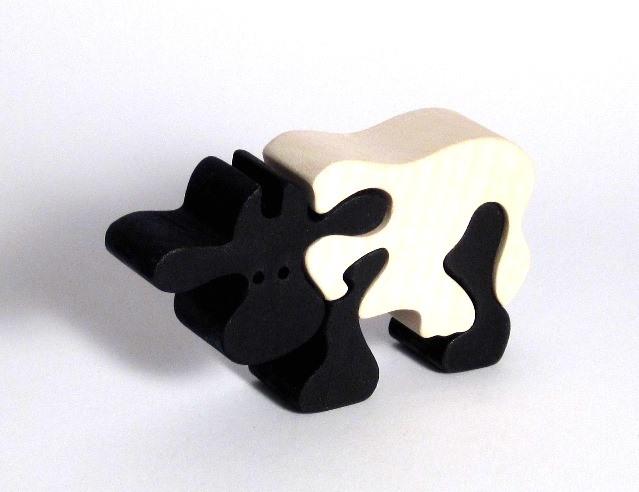 Dřevěné dětské puzzle krava
