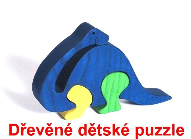 Dřevěné dětské puzzle brontosaurus
