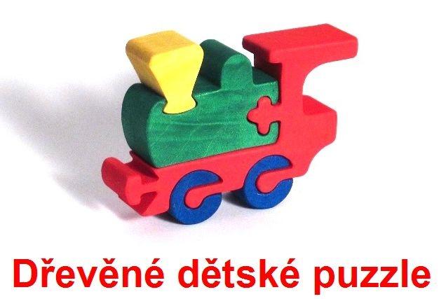 Dřevěné dětské puzzle vláček