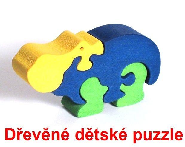 Dřevěné dětské puzzle hroch