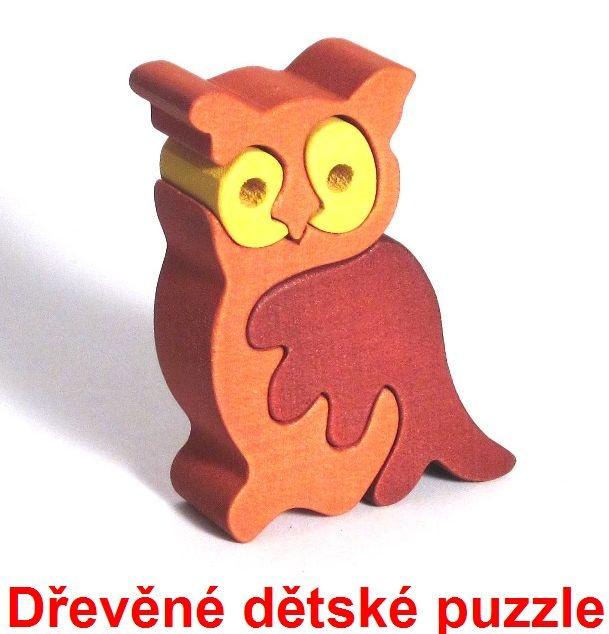 Dřevěné dětské puzzle sova