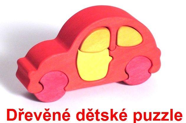 Dřevěné dětské puzzle auto