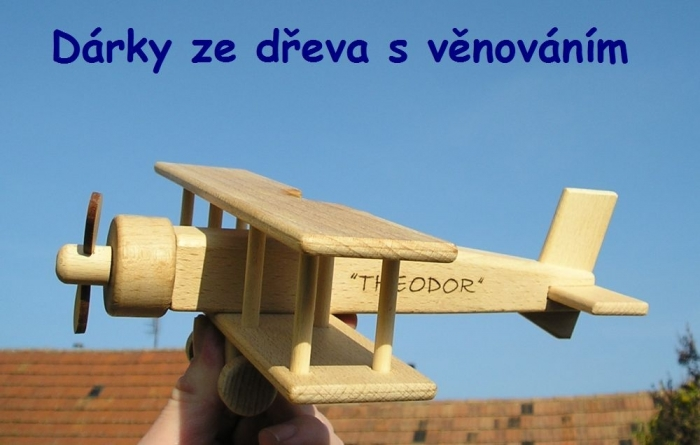 Velké letadlo dvouplošník, dřevěné hračky