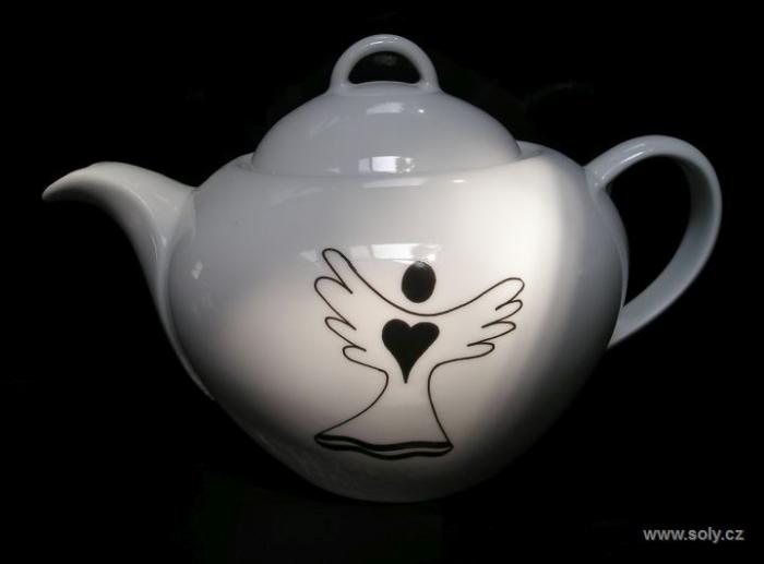 Konvička na čaj porcelánová s andělem