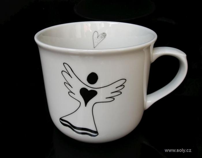 Půllitrový hrnek z porcelánu + anděl