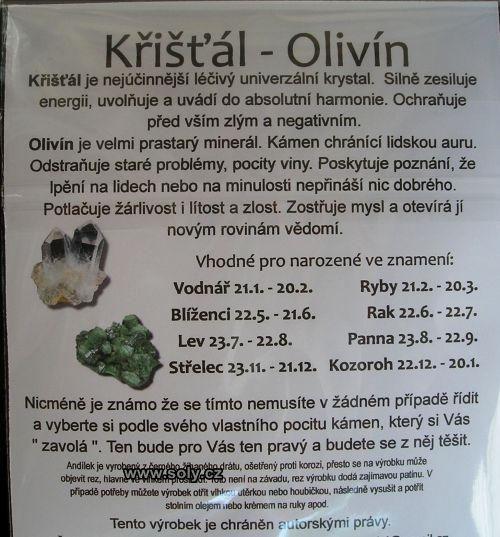 Křišťál - OLIVÍN andílek