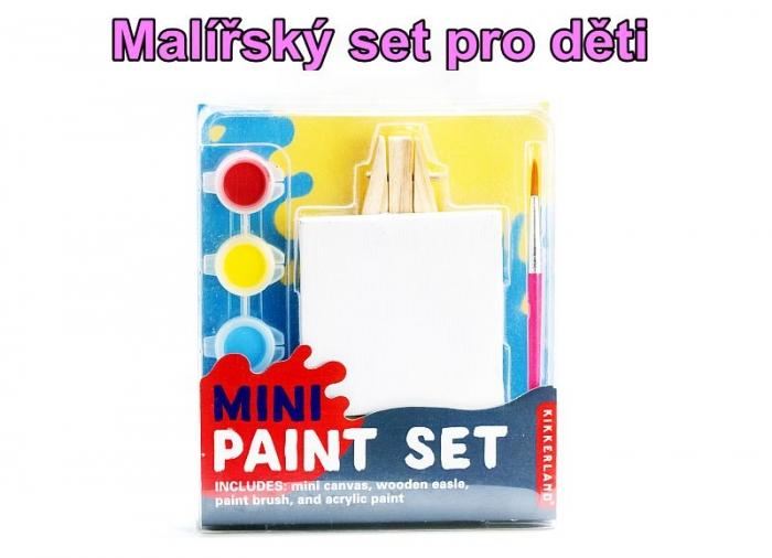Mini malovací set, stojan, plátno, štětec, barvy pro děti