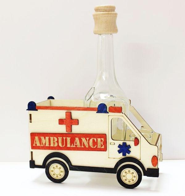 Dárek láhev k narozeninám, sanitka,ambulance, záchranka