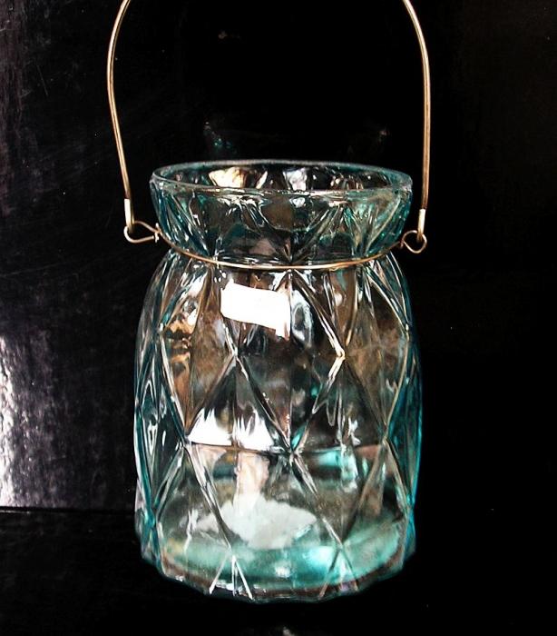 Skleněná modrá lucerna, dekorační lampa