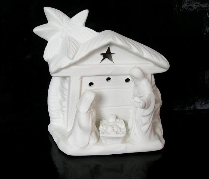 Bílý svítící keramický betlém, vánoční dekorace