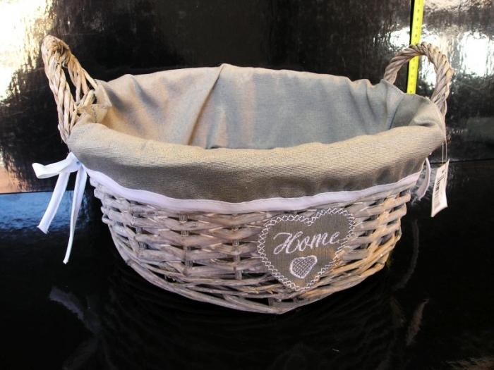 DekoračnÍ posltrovaný proutěný košík HOME