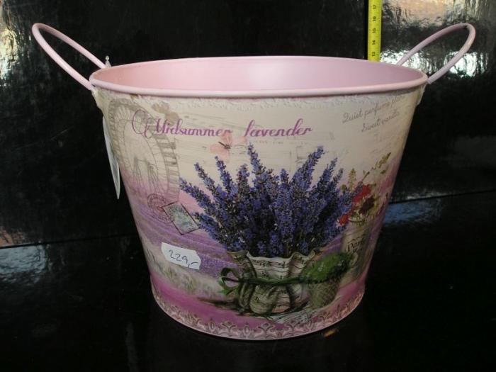 Plechový květináč provance, bytové dekorace