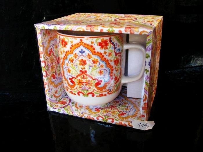 Hrnek s květinnovým vzorem, oranžový, dekorační