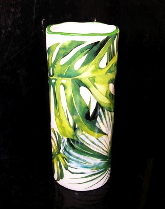 Zelená keramická váza válec na květiny, dekorace