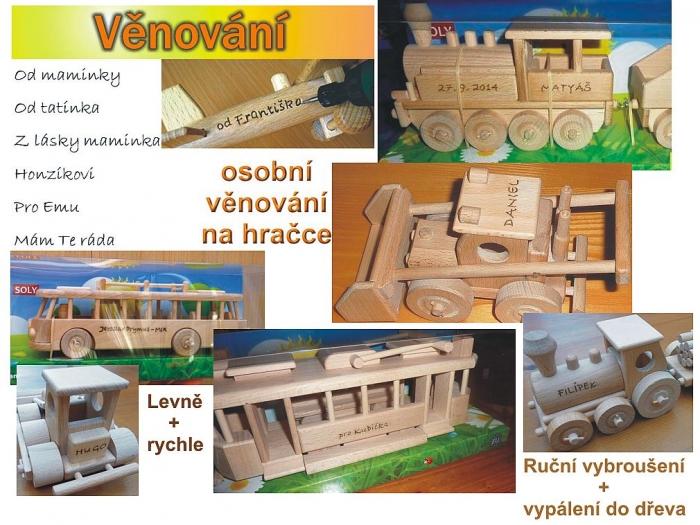 Osobní věnování na dřevěné hračky