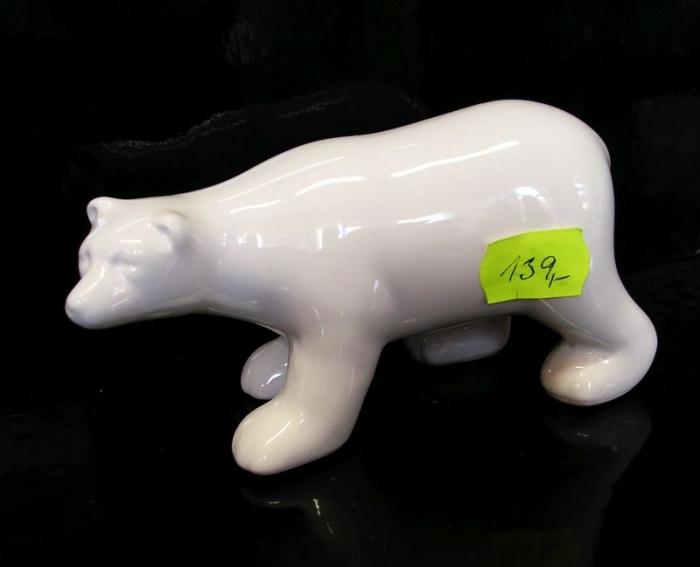 Bílý keramický medvěd, dekorace dárek