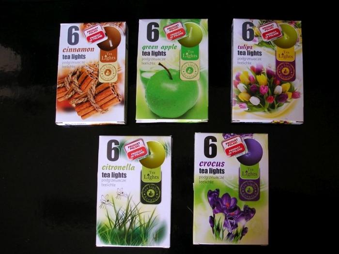 Čajové vonné svíčky skořice, tulipan, citronela, krokus, zelený čaj