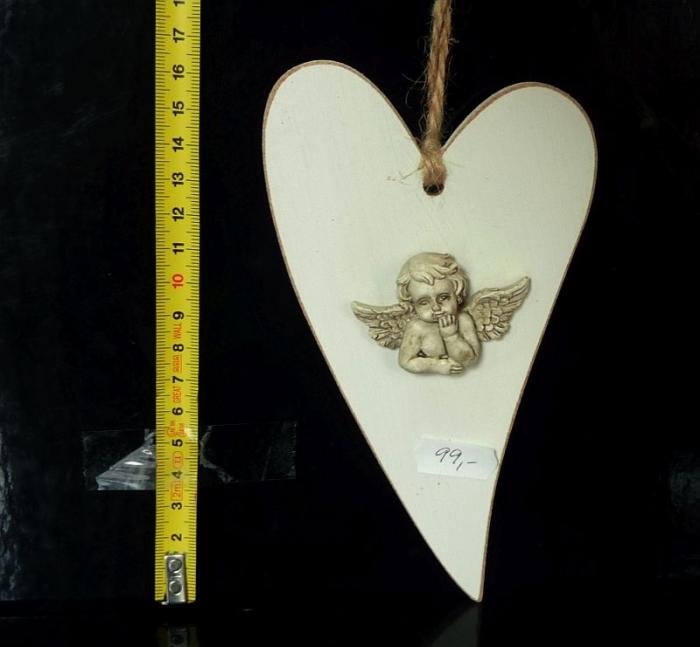 Závěsné dřevěné srdce, srdíčko s andělem