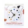 DIY vyšívané nástěné funkční hodiny z textilu