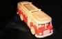 Autobus RTO dřevěný červený nástřik